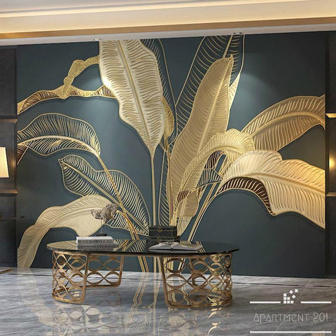 Embossed Banana Leaf Wall Paper Mural - Apartment 201