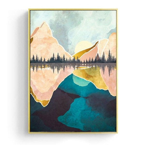 Nordic Evening Mist Mountain Canvas Wall Art - Apartment 201