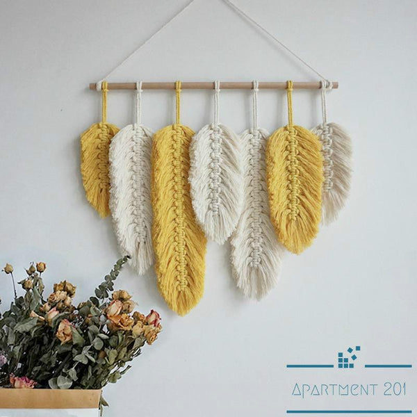 Feather Leaf Macrame Tapestry - Apartment 201