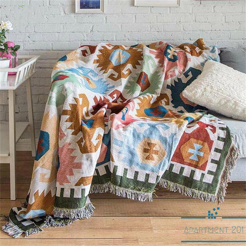 Geometric Cotton Throw Blanket - Apartment 201