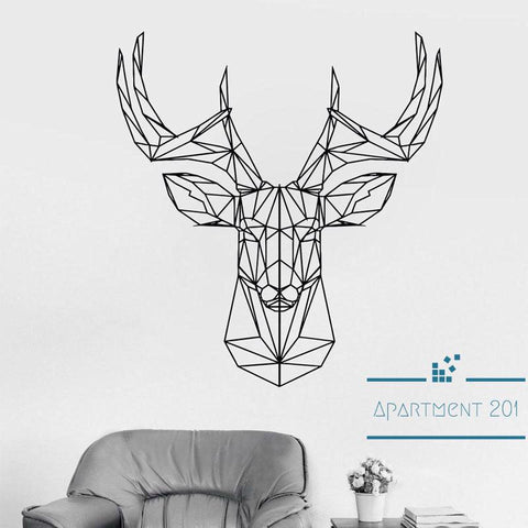 Geometric Deer Head Wall Decal - Apartment 201