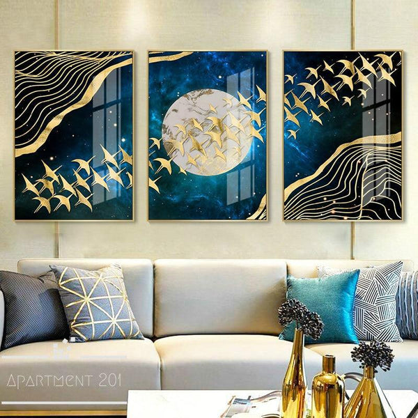 Gleamy Silver Moon Canvas Wall Art - Apartment 201