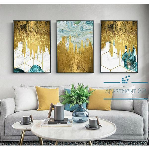 Splashing Gold Canvas Wall Art - Apartment 201