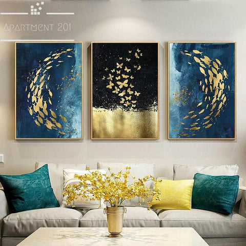 Sublime Beauty Golden Canvas Wall Art - Apartment 201