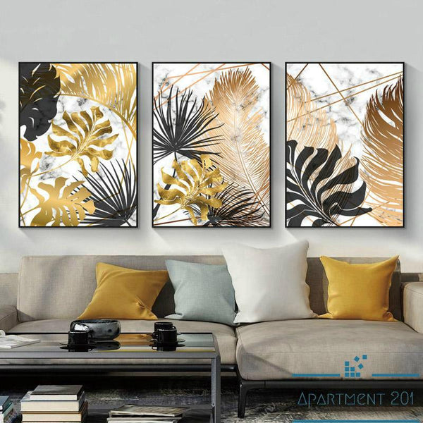 Golden Botanical Canvas Wall Art - Apartment 201