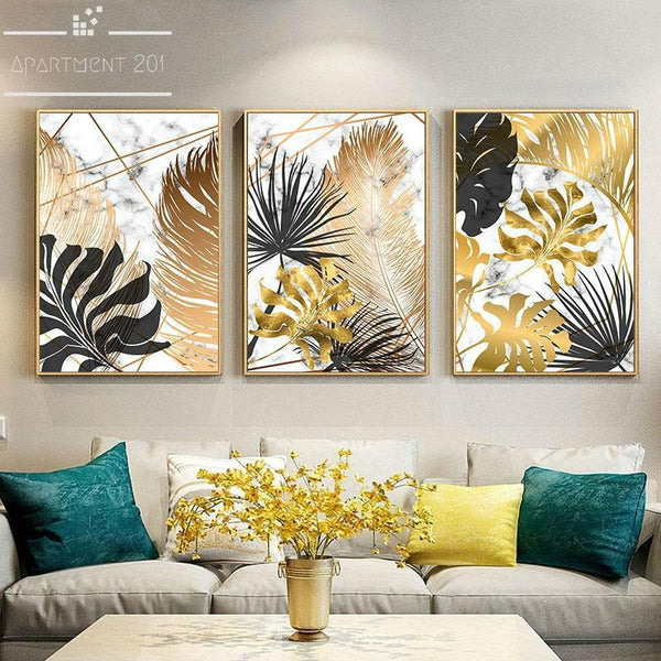 Golden Botanical Plants Canvas Wall Art - Apartment 201