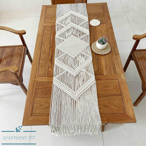 Handmade Boho Chic Macrame Table Runner - Apartment 201