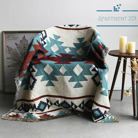 Knitted Tribal Throw Blanket - apt201