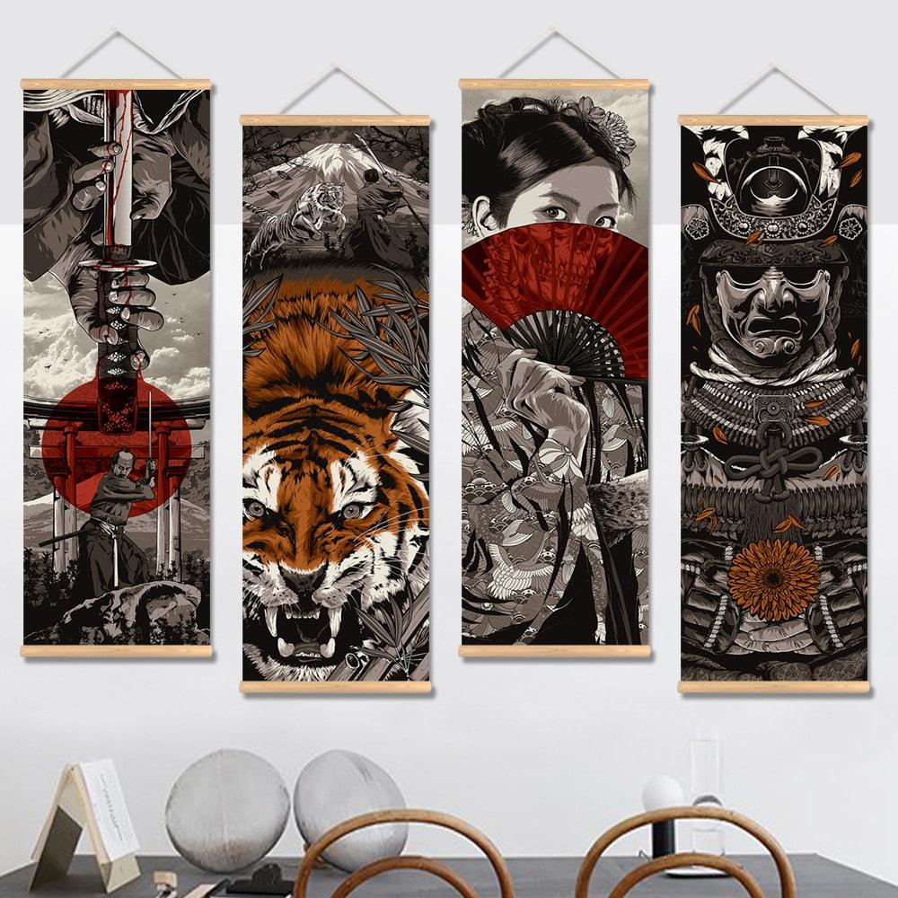 Japanese Samurai Vintage Canvas Wall Art - Apartment 201