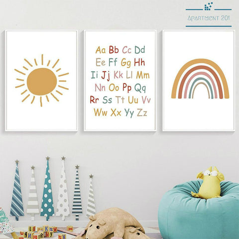 ABC Rainbow Fun Canvas Wall Art - Apartment 201
