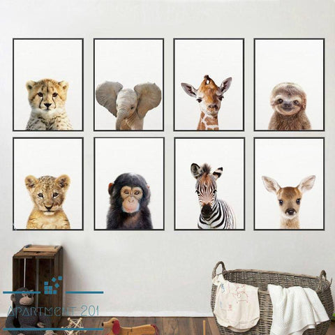 Kids Zoo Animals Canvas Wall Art - Apartment 201