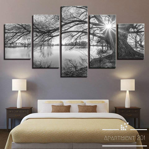5 Panel Lakeside Branch Canvas Wall Art - Apartment 201