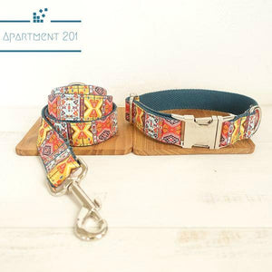 Bohemian Engraved Dog Collar / Leash Set - apt201