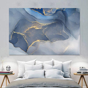 Blue Marble Foil Canvas Wall Art - Apartment 201