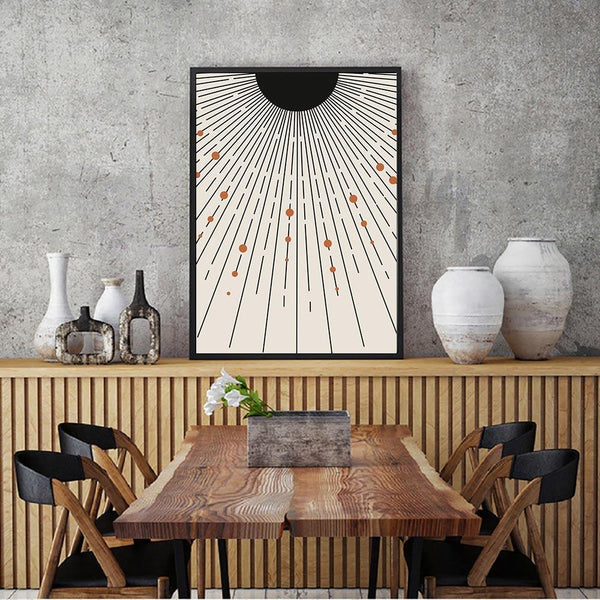 Mid Century Wall Art Poster Sun Abstract Canvas Painting Minimalist Stripes Poster Geometric Wall Prints Living Room Home Decor - Apartment 201