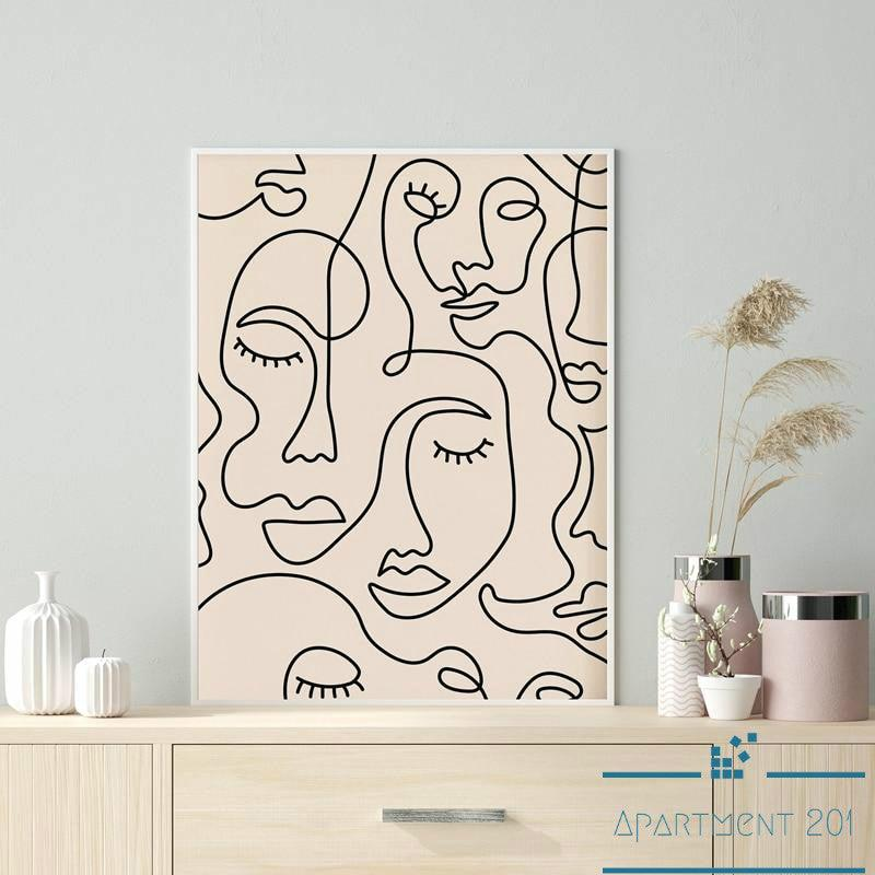 Minimalist Single Line Evolving Lady Canvas Wall Art - Apartment 201