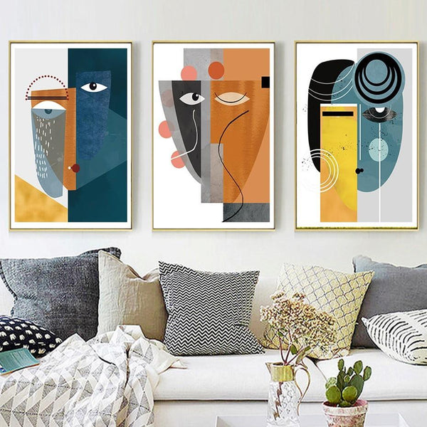 Abstract Luna Facial Figure Canvas Wall Art - Apartment 201