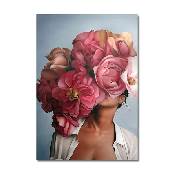 Abstract Lady Valentina Floral Canvas Wall Art - Apartment 201