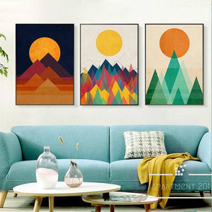 Nordic Geometric Mountain Canvas Wall Art - Apartment 201