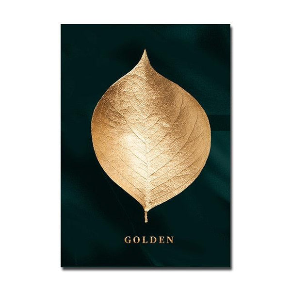 Golden Leaf Canvas Wall Art - Apartment 201