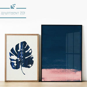 Nordic Blue Monstera Leaf Canvas Wall Art - Apartment 201