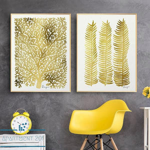 Nordic Golden Leaf Canvas Wall Art - apt201