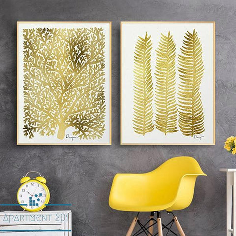 Nordic Golden Leaf Canvas Wall Art - Apartment 201