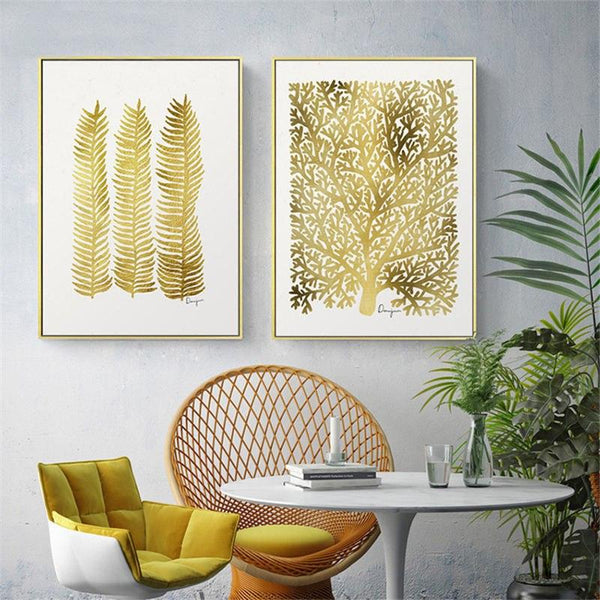 Nordic Golden Leaves Canvas Wall Art - Apartment 201