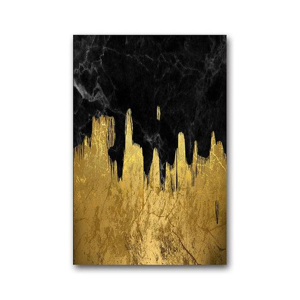 Abstract Swashing Gold Marble Canvas Wall Art - Apartment 201