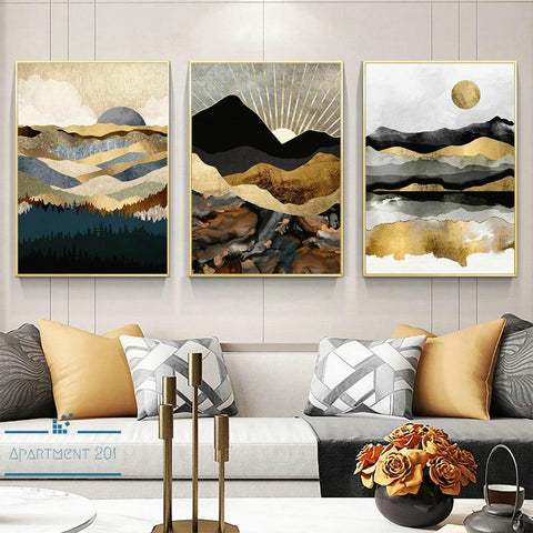 Nordic Abstract Reflections Canvas Wall Art - Apartment 201