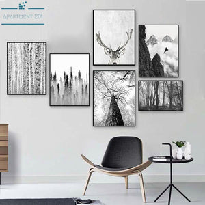 Nordic B&W Landscape Canvas Wall Art