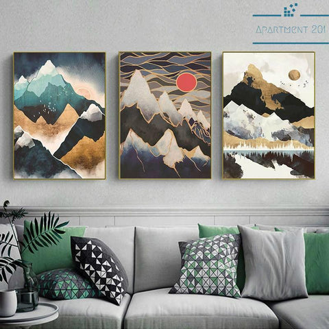 Nordic Mountain Landscape Canvas Wall Art