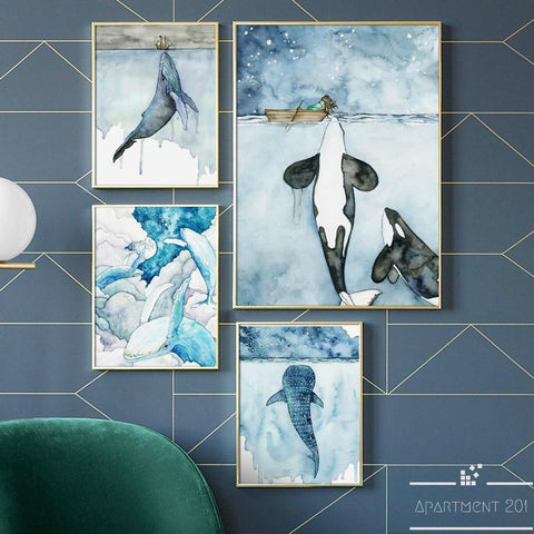 Nordic Whale Canvas Wall Art - Apartment 201
