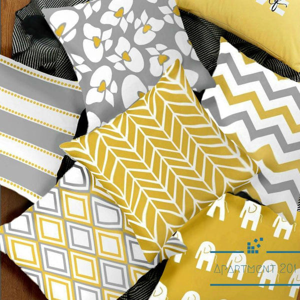 Yellow/ Grey Geometric Cushion Covers - Apartment 201