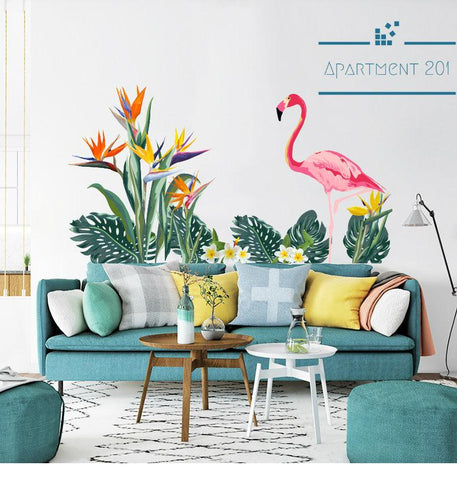 Flamingo Jungle Wall Decal - apt201