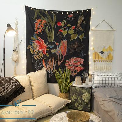 Black Botanical Wall Tapestry - apt201