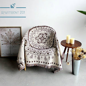 Knitted Mandala Throw Blanket - apt201