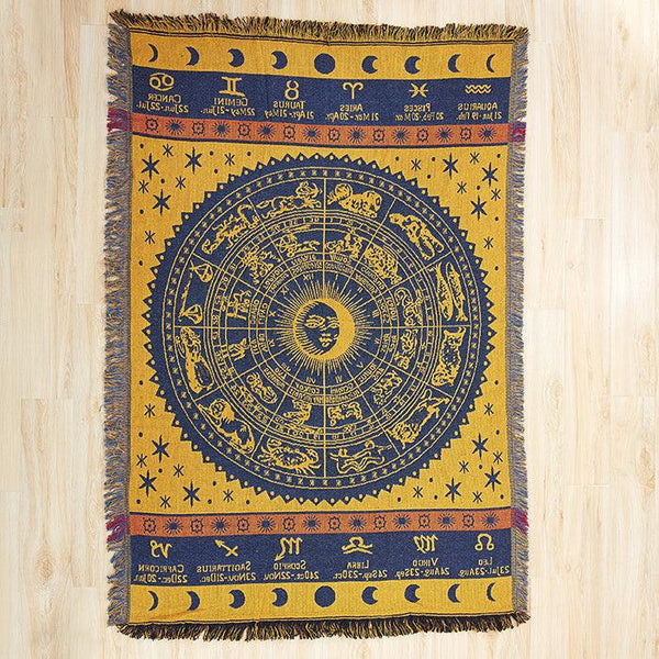 Horoscope Cotton Throw Blankets - Apartment 201