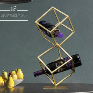 Golden Cube Wine Rack - apt201