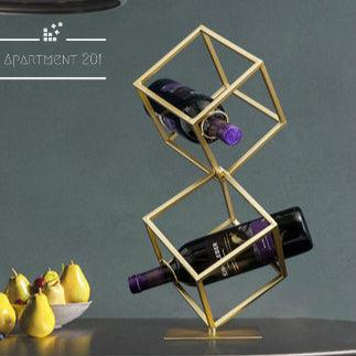 Golden Cube Wine Rack - Apartment 201