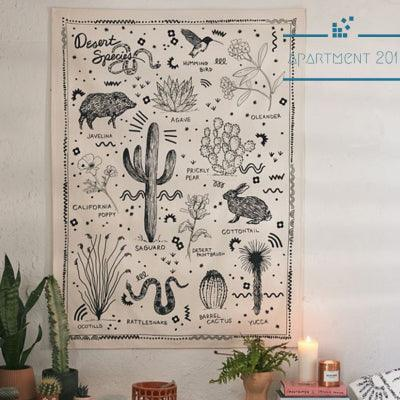 Vintage Desert Species Wall Tapestry - Apartment 201