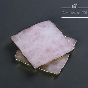 Pink Onyx Crystal Agate Coaster Set of 2 - apt201
