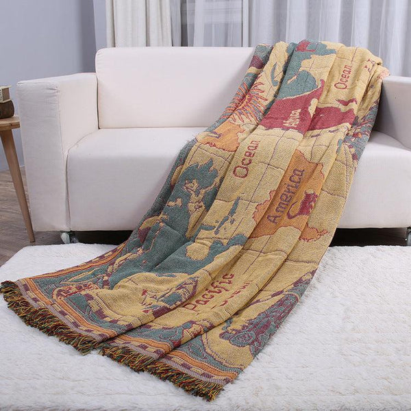 Traveler's Map Cotton Throw Blankets