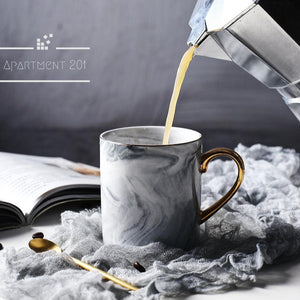 Gold Handle Marble Mug - Apartment 201