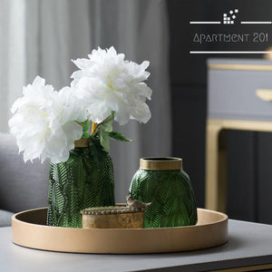 Leaf Patterned Pressed Glass Vase - Apartment 201