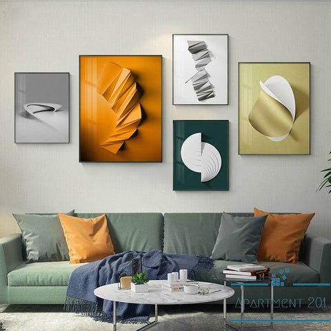 Origami Foil Abstract Canvas Wall Art