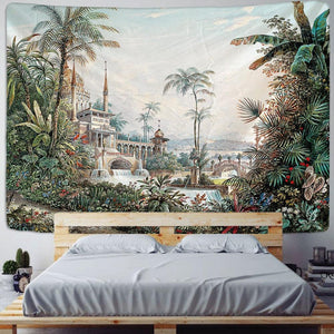 Palm Tree Tapestry Wall Hanging Tropical Leaves Flowers Pattern Beach Wall Tapestry Animal Backdrop Wall Cloth Carpet Tapestries - Apartment 201