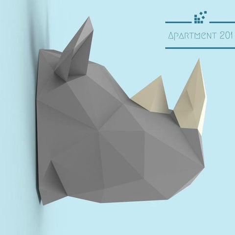 DIY 3D Paper Rhinoceros Wall Decor - apt201