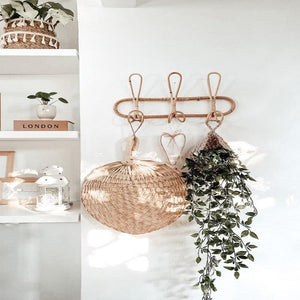Boho Rattan 3 Hook Wall Organizer - Apartment 201