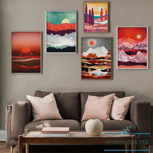Red Romance Landscape Canvas Wall Art - Apartment 201